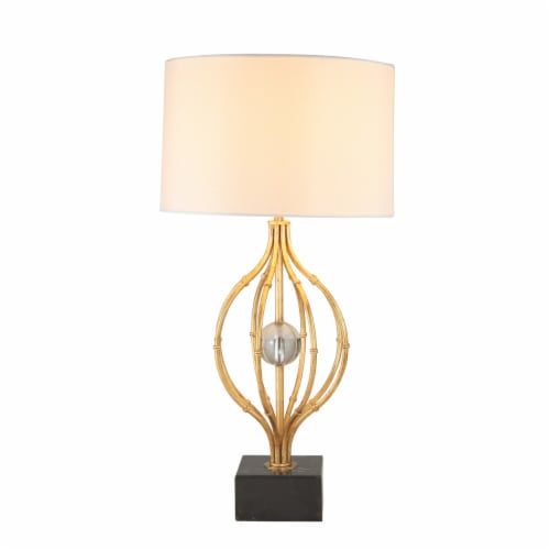 Saltoro Sherpi Metal Table Lamp with Curved Open Base and Crystal Orb, Gold Perspective: back