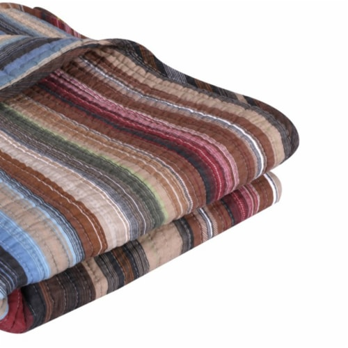 Saltoro Sherpi Phoenix Fabric Throw with Striped Prints, Multicolor Perspective: back