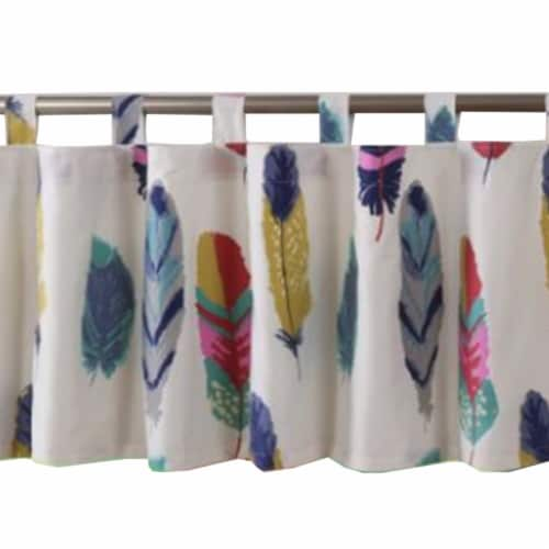 Saltoro Sherpi Boston Fabric Window Valance with Feather Prints, Multicolor Perspective: back