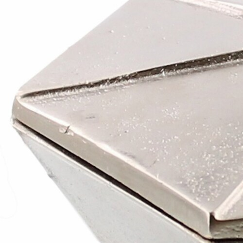 Saltoro Sherpi Metal Hexagonal Shaped Box with Lid, Small, Silver Perspective: back