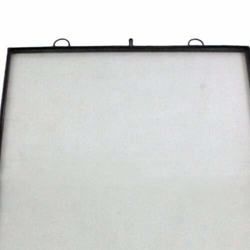 Saltoro Sherpi Vertical Sleek Metal Wall Frame with Keyhole Hanger, Black and White Perspective: back