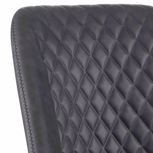 Saltoro Sherpi Diamond Pattern Stitched Leatherette Office Chair with Star Base, Gray Perspective: back