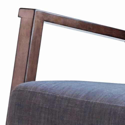 Saltoro Sherpi Fabric Rocking Chair with Open Wooden Arms, Gray and Brown Perspective: back