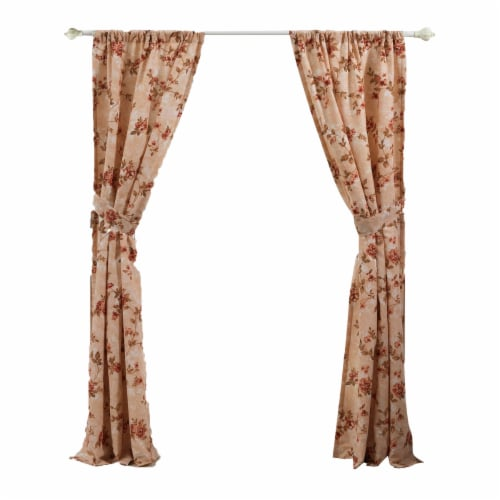 Saltoro Sherpi Munich 4 Piece Flower and Petal Print Fabric Curtain Panel with Ties,Beige Perspective: back