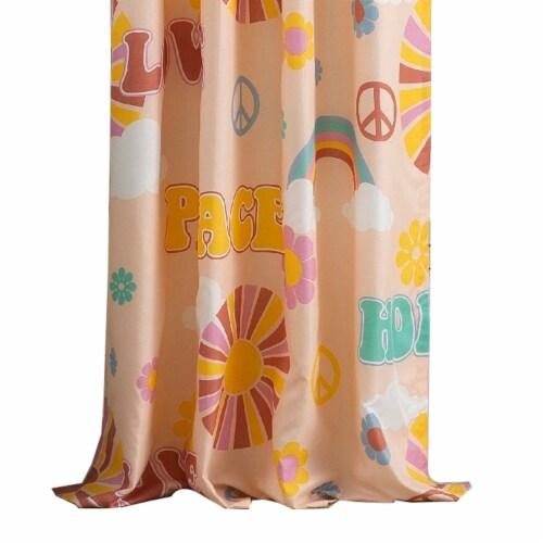 Saltoro Sherpi Dublin 4 Piece Rainbow and Cloud Print Fabric Curtain Panel with Ties, Beige Perspective: back