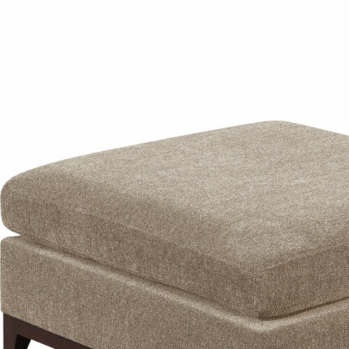 Saltoro Sherpi Fabric Cocktail Ottoman with Chamfered Feet, Gray Perspective: back