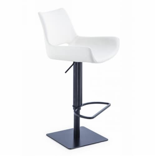 Saltoro Sherpi Swivel Faux Leather Bar Stool with Countered Seat, White and Black Perspective: back