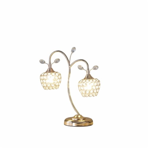 Saltoro Sherpi Floral Tree Design Metal Table Lamp with Dome Shade and Crystals, Gold Perspective: back