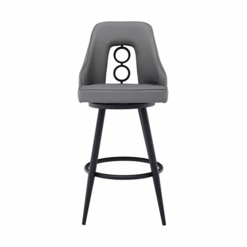 Saltoro Sherpi Faux Leather Barstool with Metal Tapered Legs, Gray and Black Perspective: back