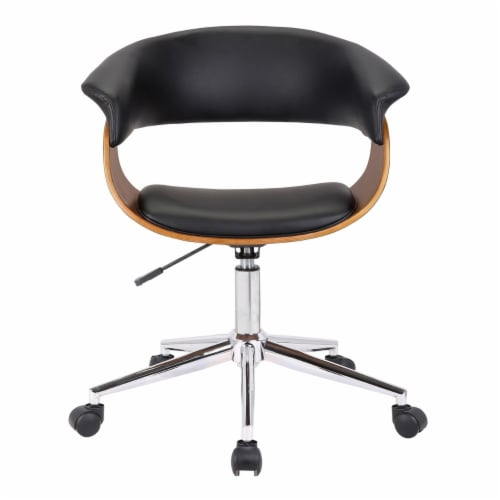 Saltoro Sherpi Curved Faux Leather Office Chair with Wooden Support and Star base, Black Perspective: back
