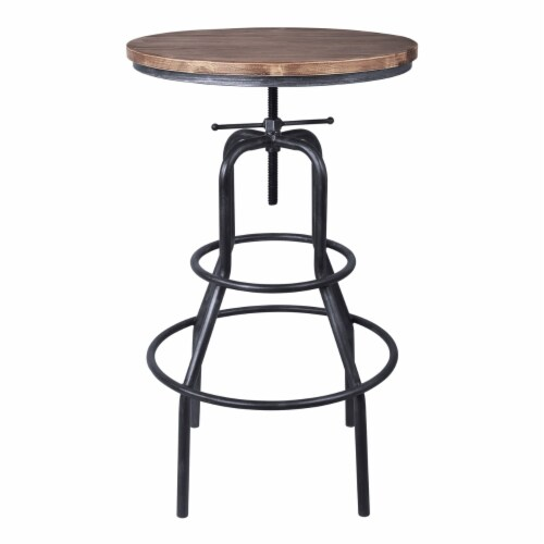 Saltoro Sherpi Metal Adjustable Height Pub Table with Round Seat, Brown Perspective: back