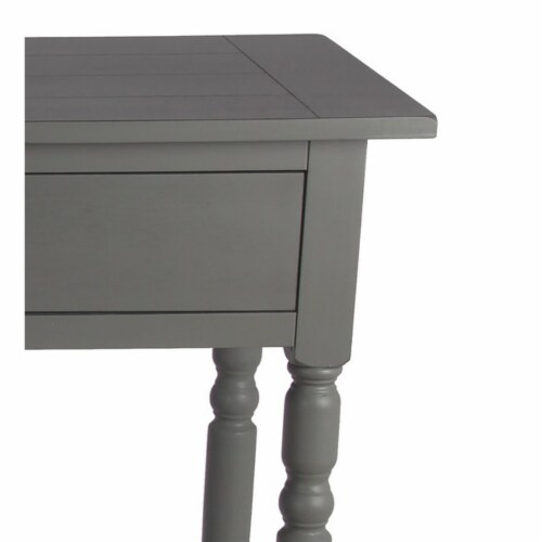 42 Inches 2 Drawer Console Table with Slatted Top, Gray Perspective: back