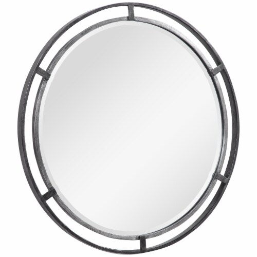 30 Inches 3 Dimensional Round Metal Frame Wall Mirror, Silver Perspective: back