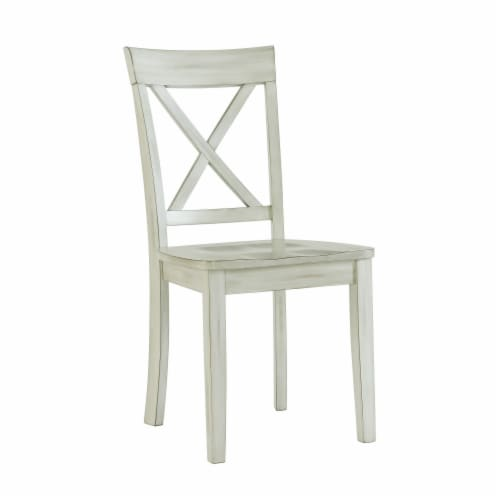 Wooden 6 Piece Dining Set with 1 Bench and X Back Chairs, White Perspective: back