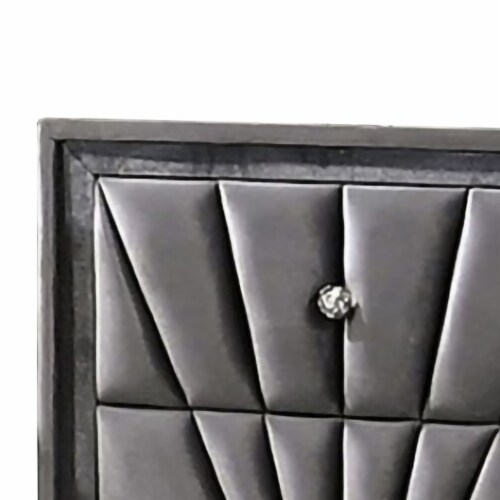 2 Drawer Fabric Frame Nightstand with Tufted Accent, Gray Perspective: back
