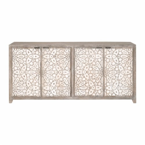 75 Inch Wooden Sideboard with 4 Doors, Brown and White Perspective: back