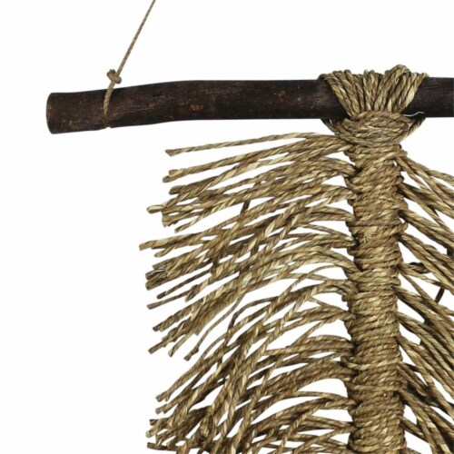 Wooden Wall Hanging with Seagrass Accent, Brown ,Saltoro Sherpi Perspective: back