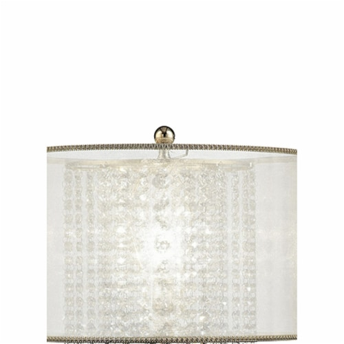 Saltoro Sherpi Table Lamp with Hanging Crystal Accents, White and Gold Perspective: back