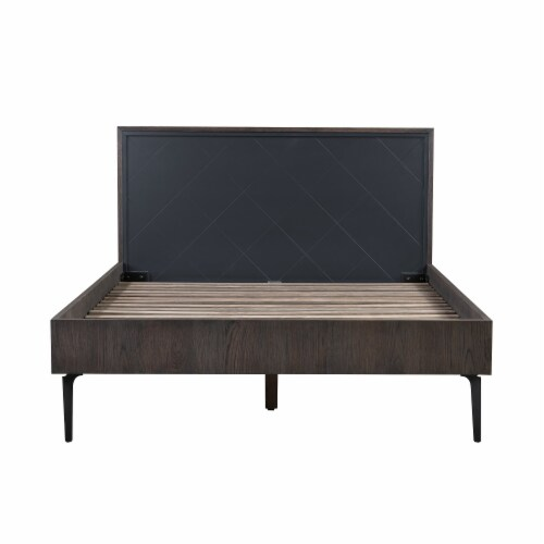 3 Piece Cross Design Wooden Queen Bed with Nightstands, Gray and Brown Perspective: back