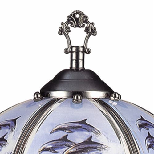 Umbrella Shade Glass Table Lamp with Dolphin Print, Silver Perspective: back