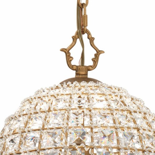 Pendant Chandelier with Dome Metal Frame and Crystal Accents, Gold ,Saltoro Sherpi Perspective: back