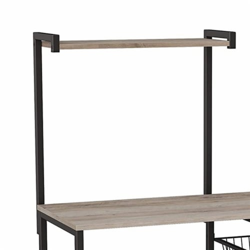 Bakers Rack with 4 Open Shelves and Wire Basket, Gray and Black Perspective: back