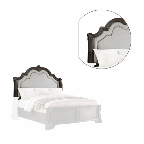 Queen Headboard with Scalloped Molded Top and Fabric Padding, Brown Perspective: back