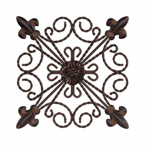 Medallion Metal Wall Art  8 Inch Square Metal Home Decor, Hand Crafted with Distressed Finish Perspective: back