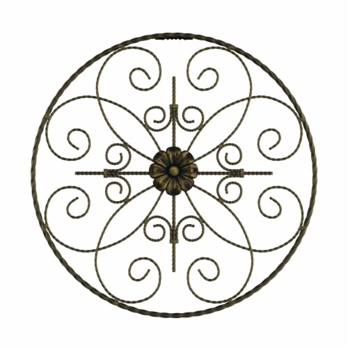 Medallion Metal Wall Art- 14 Inch Round Metal  Hand Crafted with Distressed Finish Perspective: back