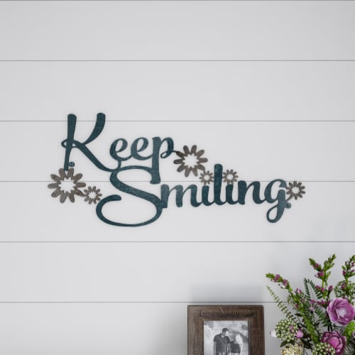 Metal Cutout- Keep Smiling Decorative Wall Sign-3D Word Art Home Accent Decor Perspective: back