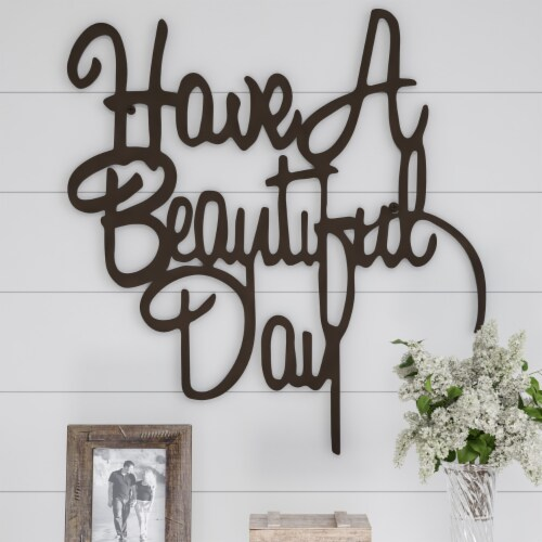 Metal Cutout-Have a Beautiful Day Decorative Wall Sign-3D Word Art Home Accent Decor-Perfect Perspective: back
