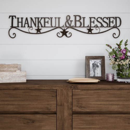 Metal Cutout-Thankful And Blessed Decorative Wall Sign-3D Word Art Home Accent Decor-Modern Perspective: back