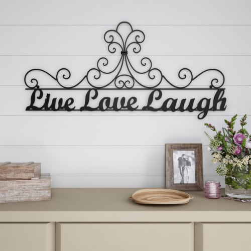 Metal Cutout-Live Laugh Love Decorative Wall Sign-3D Word Art Home Accent Decor-Modern Rustic Perspective: back