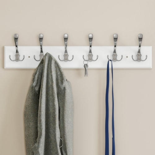 White Wall Hook Rail-Mounted Hanging Rack with 6 Hooks-Entryway, Hallway, or Bedroom-Storage Perspective: back