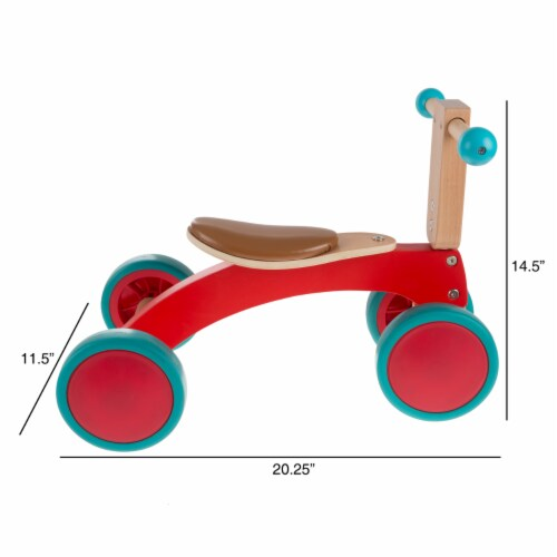Walk and Ride Wooden 4 Wheel Tricycle with Seat Walking 1 - 2 Yrs Old Perspective: back