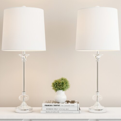 Crystal Lamps-Set of 2 Faceted Shiny Silver Lighting-Comes With 2 Matching Table Perspective: back