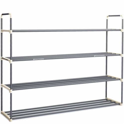 Shoe Rack Storage Shelf 4 Shelves Hallway Entryway Holds 24 Pairs 40 Inches Long Perspective: back