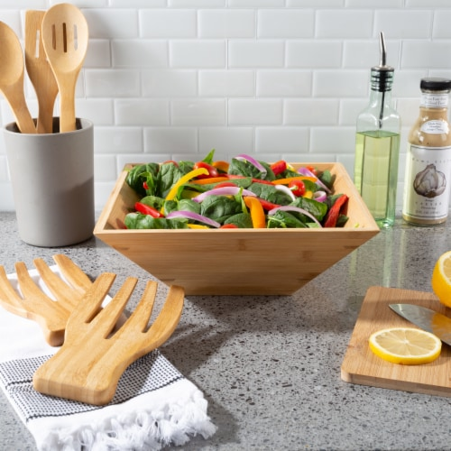 Bamboo Salad Bowl with Utensils – FDA Certified Modern Square Wood Dinnerware Eco-Friendly Perspective: back