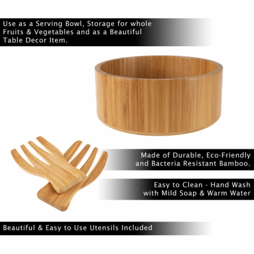 Bamboo Salad Bowl with Utensils – FDA Certified Modern Round Wooden Dinnerware Serving Fruit Perspective: back