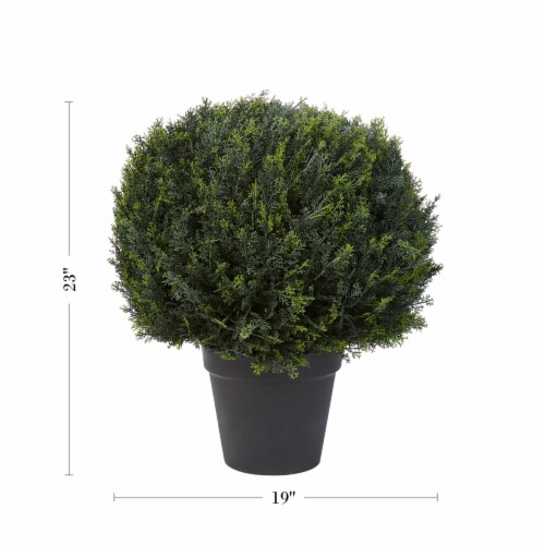 Artificial Cypress Topiary-23 Inch Ball Style Faux Plant in Sturdy Pot-Realistic Indoor or Perspective: back