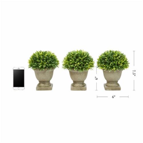 Set of 3 Artificial Podocarpus Grass Plant in Concrete Pot 7.5 Inch Decorative Faux Indoor Perspective: back