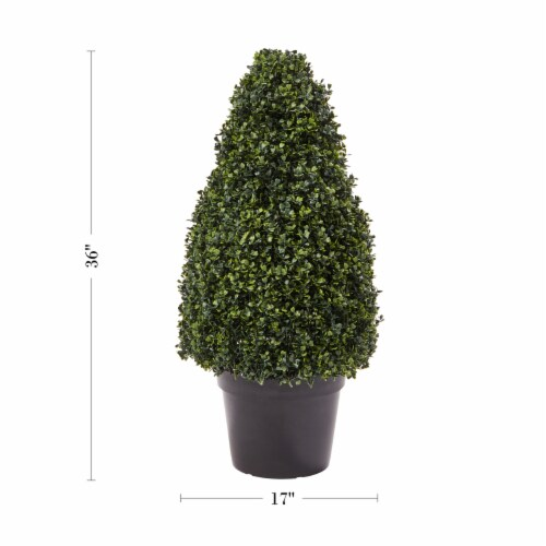 Artificial Boxwood Topiary-36 Inch Tower Style Faux Plant in Sturdy Pot-Decorative, Realistic Perspective: back