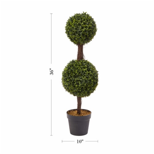 Artificial Podocarpus-36 Inch Double Ball Style Faux Plant in Sturdy Pot-Realistic Indoor or Perspective: back