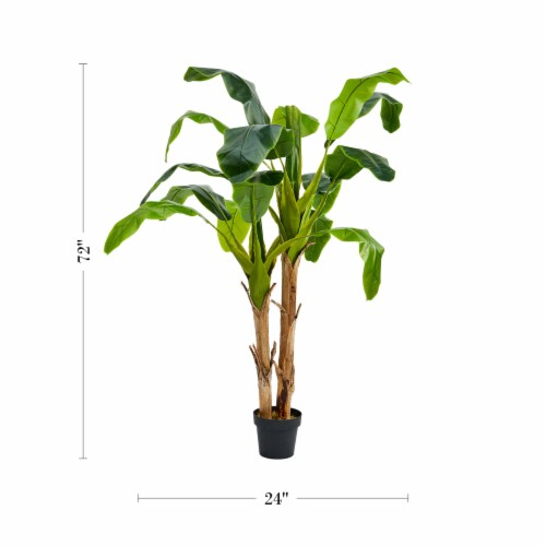 Artificial Banana Leaf Tree 72 Inch Double Trunk Style Faux Plant in Sturdy Pot- Realistic Perspective: back