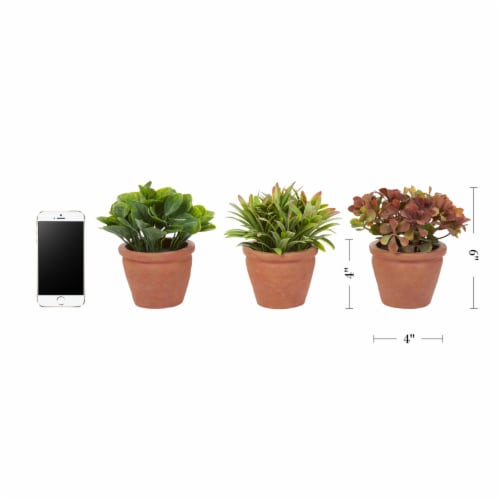 Artificial 6  Tall Greenery Arrangement House Plants in Pots- Round Set of 3, Decorative Faux Perspective: back