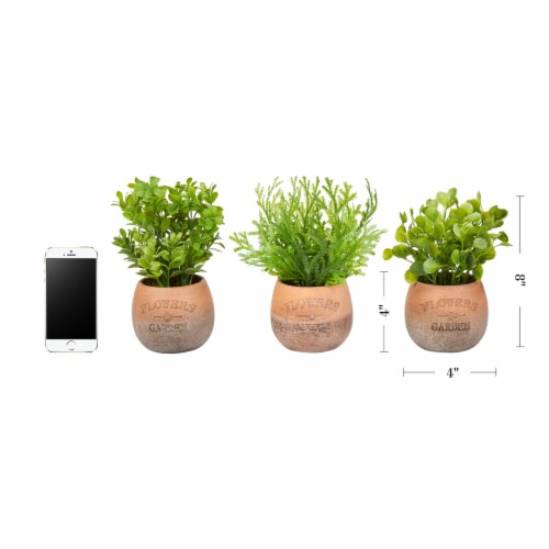 Artificial 8  Tall Greenery Arrangement House Plants in Pots- Round Set of 3, Decorative Faux Perspective: back