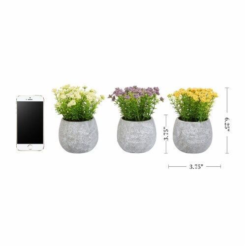 Faux Flowers-3-Piece Assorted Natural Lifelike Floral 6.25  Tall Arrangements and Imitation Perspective: back