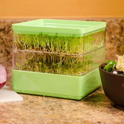 Gardens Alive! Two-Tiered Indoor Seed Sprouter with Seeds Gift Kit Perspective: back