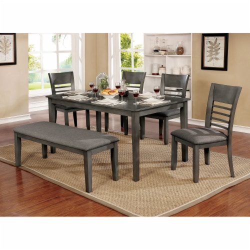 Saltoro Sherpi Rectangular Bench with Fabric Upholstered Seat and Chamfered Legs , Gray Perspective: back