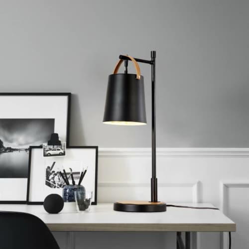 24 in. Black Iron Table Lamp with Metal Shade Perspective: back